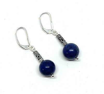 Jean Designer Sterling Silver Lapis Lazuli Drop Earrings with Antique Style Bead