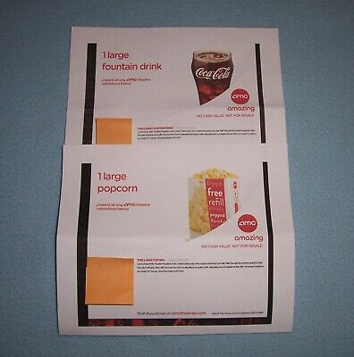 AMC Theatres' Large Popcorn and Large Fountain Drink Certificates - Expire 6/20