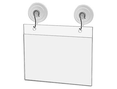 "Ad Frame Sign Holder Wall Mount 6""W x 4""H with Hooks and Suction Cups"