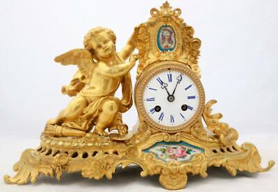 Antique Mantle Clock French Stunning 8Day Ormolu & Sevres Cherub Bell Strike