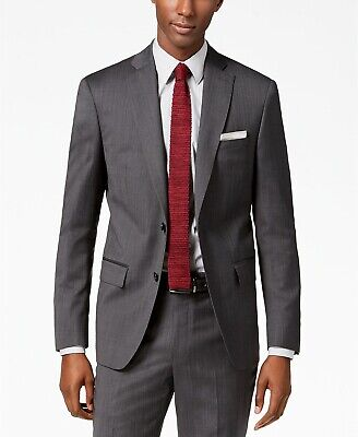 $645 Dkny Men's 36S Gray Wool Modern Fit 2-Button Blazer Sport Coat Suit Jacket