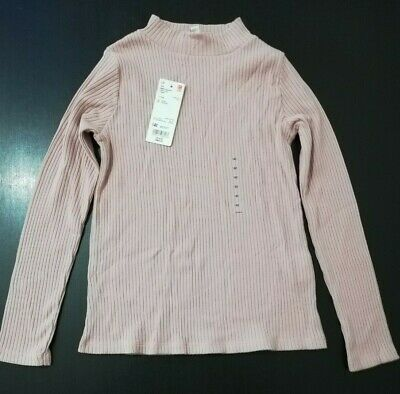 Uniqlo Girls Ribbed High Neck Long Sleeve T-Shirt Pink Age 9-10 Years