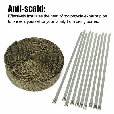 Exhaust Heat Wrap Insulation 50Mm X 10M + 10 Stainless Steel Ties