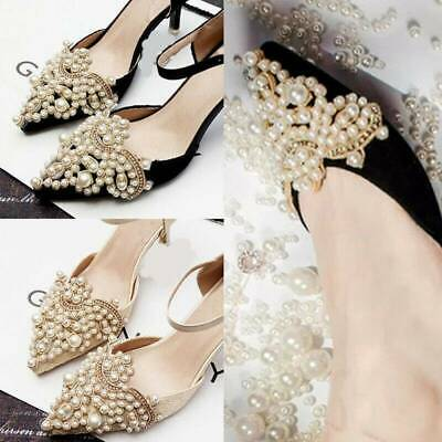 1Pair Pearl Flower Shoe Clip Rhinestones Iron on Pearl Patch Applique Accessory