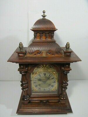 JUNGHANS Antique German Mantel Shelf Wood CASTLE Clock Art Deco