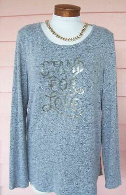 OLD NAVY Stand for Love Tunic Top L SUPER SOFT Slouchy GRAY/BLACK High Low Hem