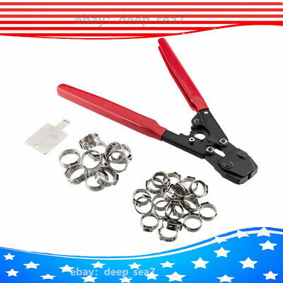 US 30 Rings Stainless Steel Clamps + PEX KIT Pipe Tube Crimper Crimping Tool Set