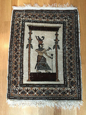 Antique handknotted wool Egyptian rug with Pharoah/Egyptian Scene 1930's
