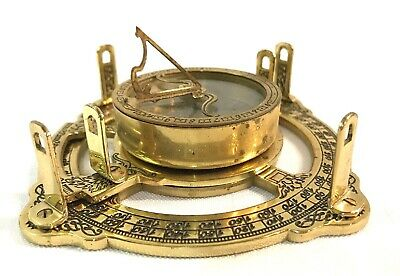 Brass Nautical Sundial & Compass - Working Marine Prop Vintage Collectible