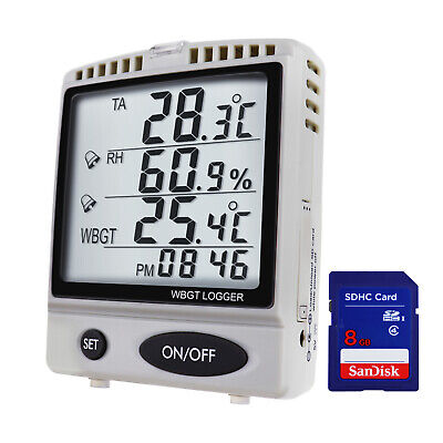 WBGT SD Card Datalogger Temperature Humidity Meter Desktop / Wallmount Logger