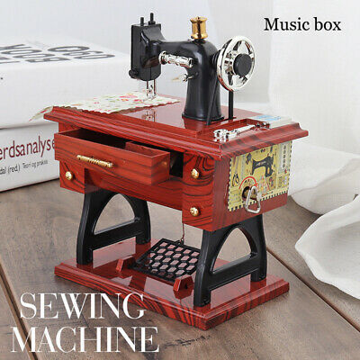 Vintage Mini Sewing Machine Style Music Box Mechanical Table Decor Birthday Gift