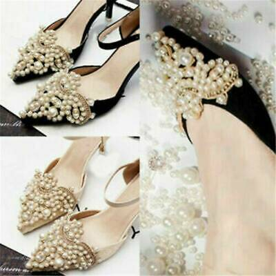 2X Rhinestones Pearl Flower Shoes Clip Iron on Patch Applique Wedding Shoe Clip