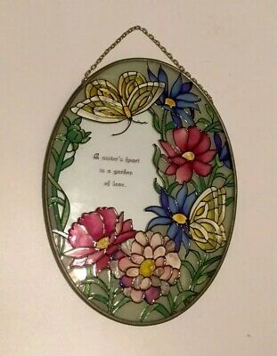 Tiffany Style Stained Glass Panel oval Handcrafted