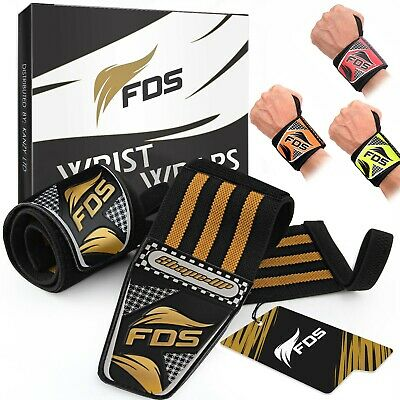 FDS Wrist Wraps Straps Weight Lifting Padded Training Gym Hand Bar Gloves Grip