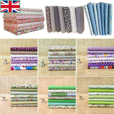 7PCS Mixed 100% Cotton Fabric Material Value Bundle Scraps Offcuts Quilting UK