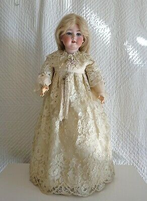 "Antique Armand Marseilles A13 390 30"" Porcelain China Doll Composition Stand"