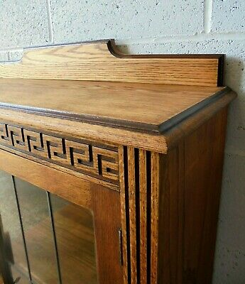 Antique Vintage Leaded Glass Oak Bookcase Display Cabinet, Lock & Key