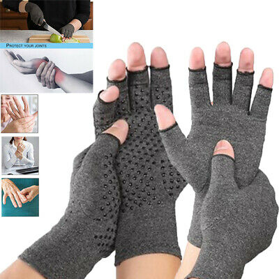 Copper Compression Open Finger Gloves Carpal Tunnel Relieve Arthritis Joint Pain