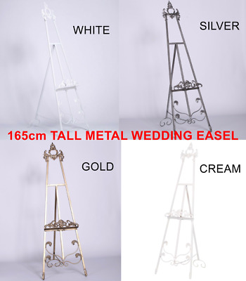 French Tall Antiqued Scroll Freestanding Metal Wedding Table Plan Display Easel