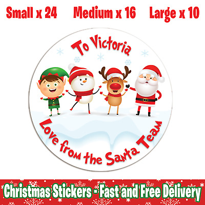 Personalised Christmas Round Stickers - Love from the Santa Team