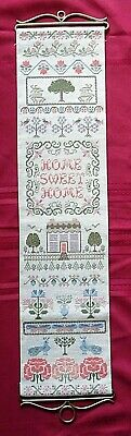 Completed Vintage Finished Cross Stitch Home Sweet Home Sampler Bell Pull