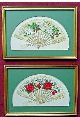 2 Finished Vintage Cross Stitch Fan Pictures Complete with Frame