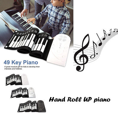 Flexible Roll Up Electronic Soft Keyboard Piano Portable 49 Keys Gift For Kids