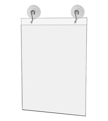 "Ad Frame Sign Holder Wall Mount 8 1/2""W x 11""H with Hooks and Suction Cups"