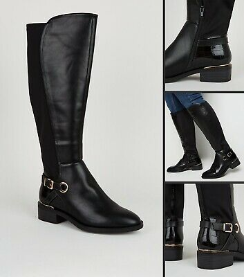 NEW LOOK Ladies Womens Black Flat Knee High Boots Calf Wide Fit Size 4 5 6 7 8