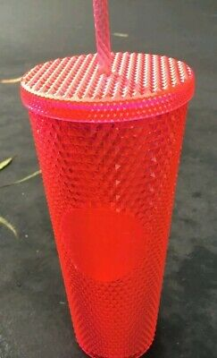 1 NEW STARBUCKS  2019  Neon Pink Studded Cold Cup Tumbler WINTER HOLIDAY 24 oz