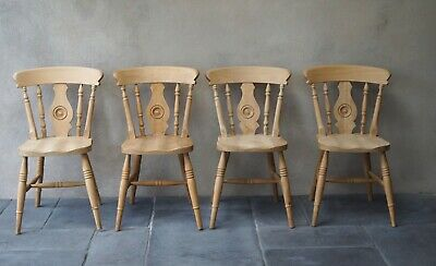 4 Dining Chairs Rustic Country Farmhouse Natural Solid Beech - Delivery Avail...