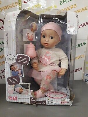 Baby Annabell Sweet Dreams Mia So Soft Doll w. Dummy & Bottle NEW Box Very Poor