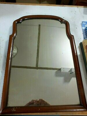 Early 18th C Genuine Queen Anne Mahogany Framed Shaped Wall Mirror Circa 1710
