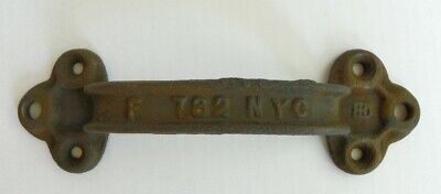 Vtg Nyc Cast Iron Ornate Industrial Door Handle Pull # 792 Nyc Firehouse Fdny ??