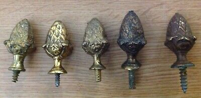 Antique Clock Finials Brass Acorns X 5 Similar Ex Clockmakers Collection 45x33mm