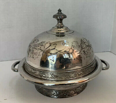 Antique Meriden #4946 Silver Plated Domed Covered Butter Dish Engraved
