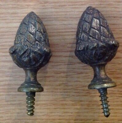 Antique Clock Finials Brass Acorn Pair From Clockmakers Collection 48x28mm