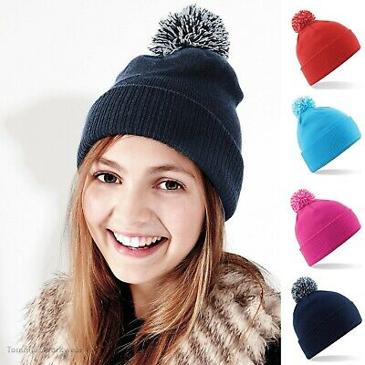 Children's Bobble Beanie Hat Thermal Warm Winter Kids Childs Boys Girls Slouch