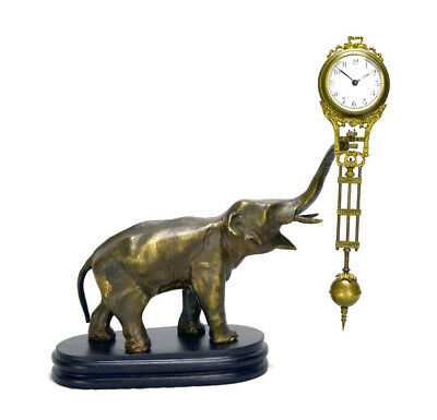 German Style Junghans Brass Elephant Figure 8 Day Swinging Swinger Clock