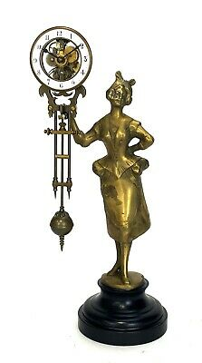 German Style Junghans Brass Barmaid Swinging Swinger Clock w Skeleton Movement