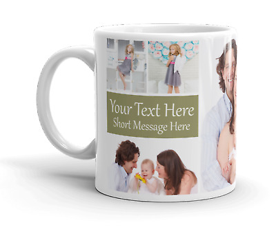Personalised Mug 6 Photo Collage Add Any Text Mother Father Gift Tea Coffee Cup