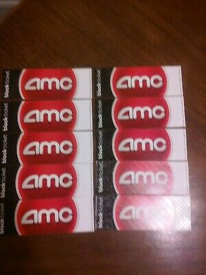 10 (Ten) AMC Theatres Black Ticket - Hard Copy - No Expiration -