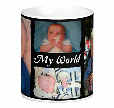 Personalised Mug 4 Photo Collage Add Any Text Mother Father Gift Tea Coffee Cup