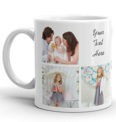 Personalised Mug 7 Photo Collage Add Any Text Mother Father Gift Tea Coffee Cup