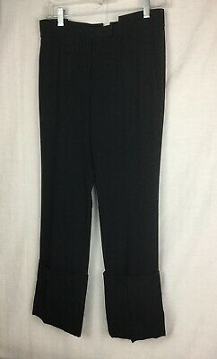 GIVENCHY Womens Classic Black Wool Cuffed Cropped Pants Slacks Trousers 36