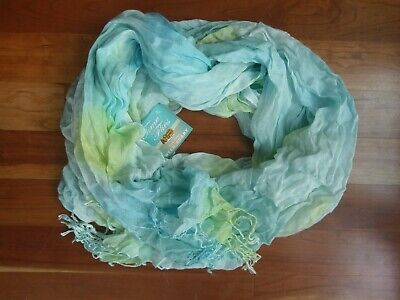 Collection XIIX Melting Flower Sapphire Fringe Wrap #2066 Scarf Blue Yellow