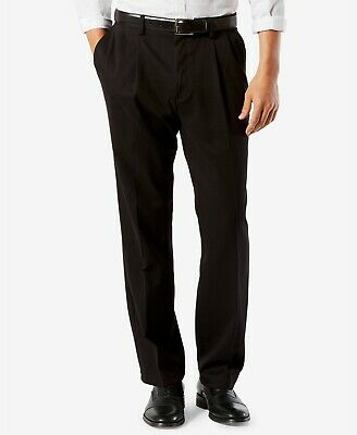 Dockers Easy Khaki Pants Classic Fit Stretch Comfort Waist Pleated Front Black
