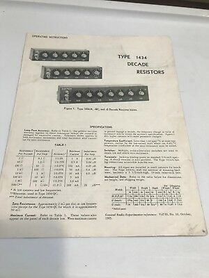 VTG Book Instruction Manual GENERAL RADIO TYPE 1434 DECADE RESISTORS BOXES