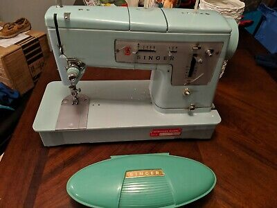 Rare Vintage Turquoise Singer 338 Sewing Machine Tested Working