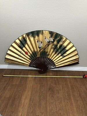"Vintage Chinese Hand Painted LARGE Decor Fan 70"" x 40"" Cranes Lacquered Wood"